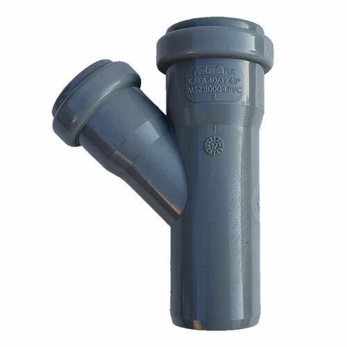 PIPELIFE PVC Tokos ágidom lefolyó csatornához (gumitömítéssel) 40x32mm / 45°
