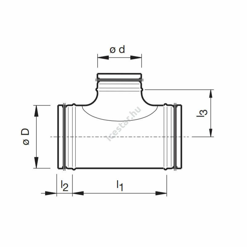 ATC-TDG90° 355/315/355 légtechnikai T-idom gumitömítéssel