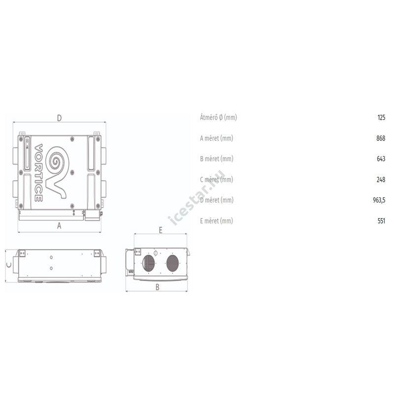VORTICE VORT HRI Phantom 200 BP hővisszanyerő szellőztető  méretek