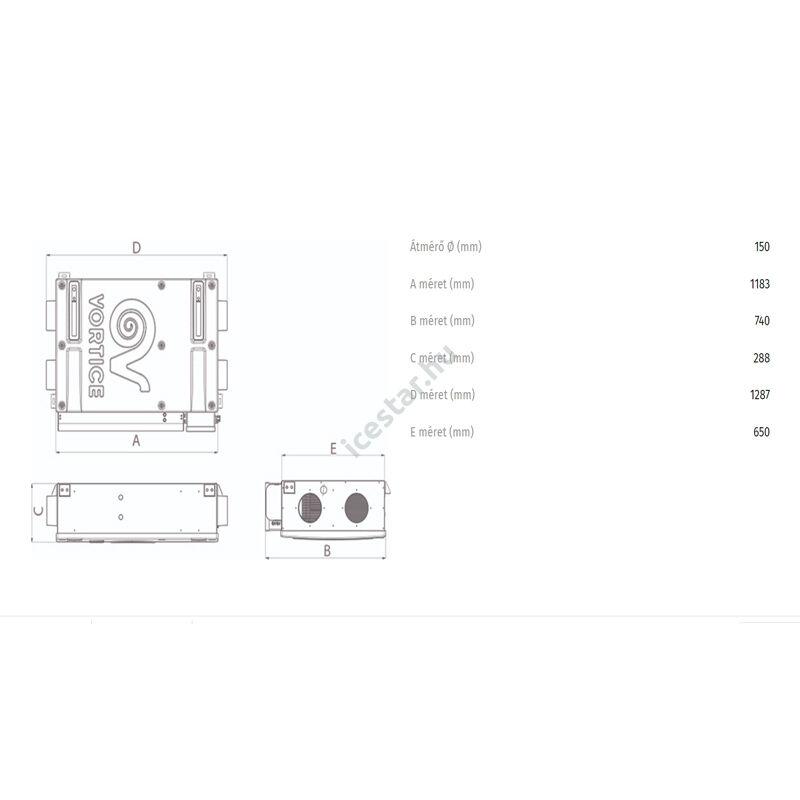 VORTICE VORT HRI Phantom 350 BP hővisszanyerő szellőztető 1
