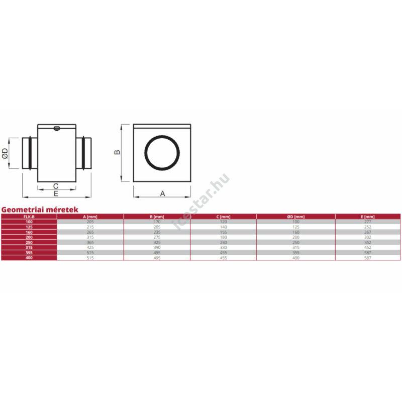ATC FLK-B100 levegőszűrő dobozos, szűrőház G4-es szűrővel geometriai rajza