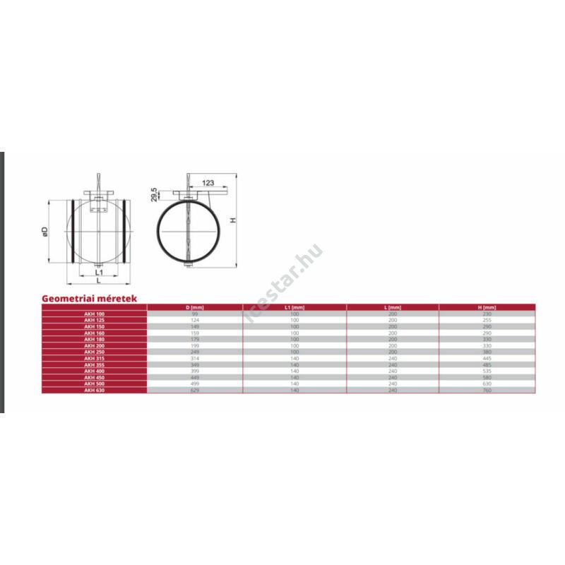 ATC-AKH 100 horganyzott légtömör kézi pillangószelep geometriai rajza
