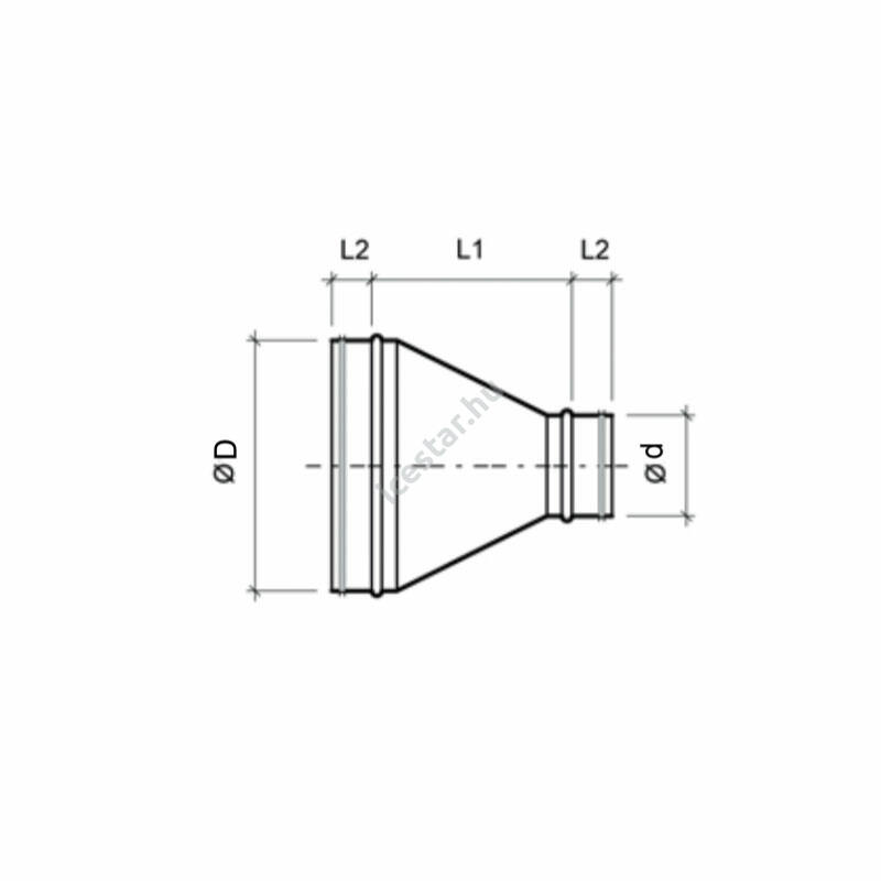 ATC-RDSG 315/200 Szeletes koncentrikus légtechnikai szűkítő gumitömítéssel
