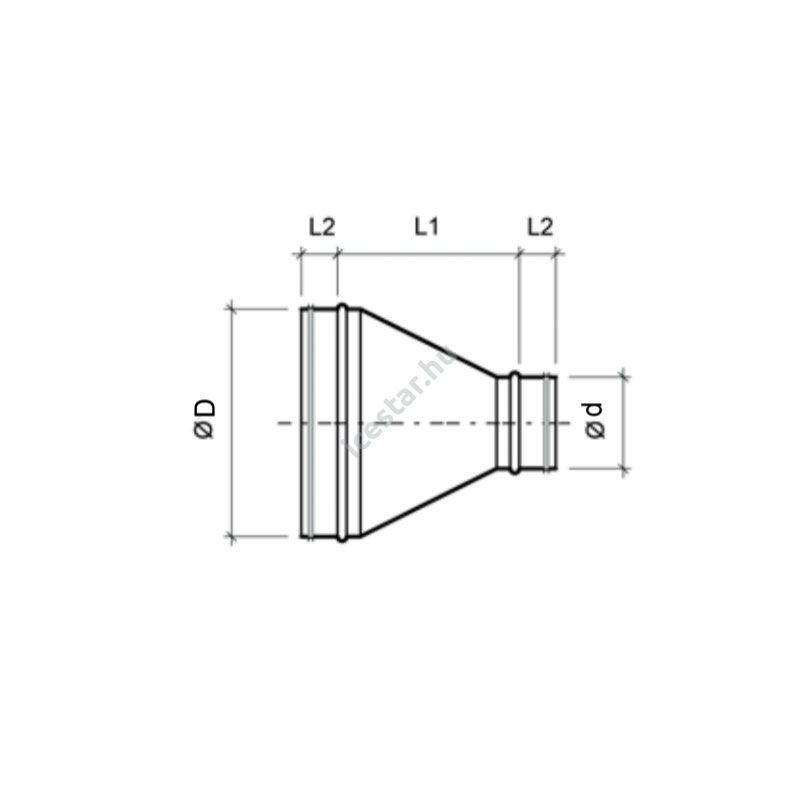 ATC-RDSG 400/315 Szeletes koncentrikus légtechnikai szűkítő gumitömítéssel