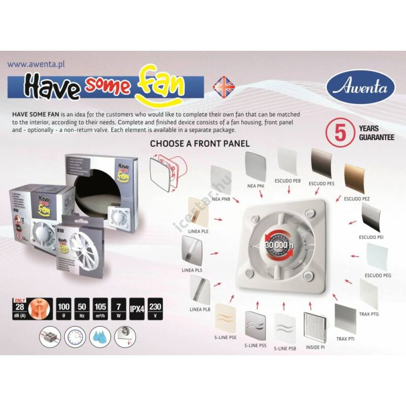 Awenta ventilátor előlap HSF PES125 ESCUDO ezüst szín