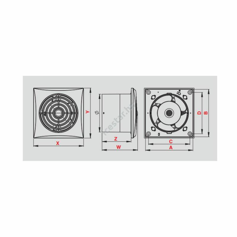 Awenta Silence axiális, időzítős fürdőszoba ventilátor WZ125T - fehér1