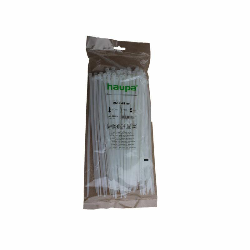 HAUPA Kábelkötegelő natúr (fehér) 250×4,8mm 100 db 1
