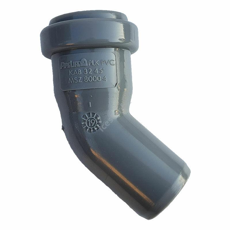 PIPELIFE PVC Tokos ívidom lefolyó csőhöz 32mm 45°