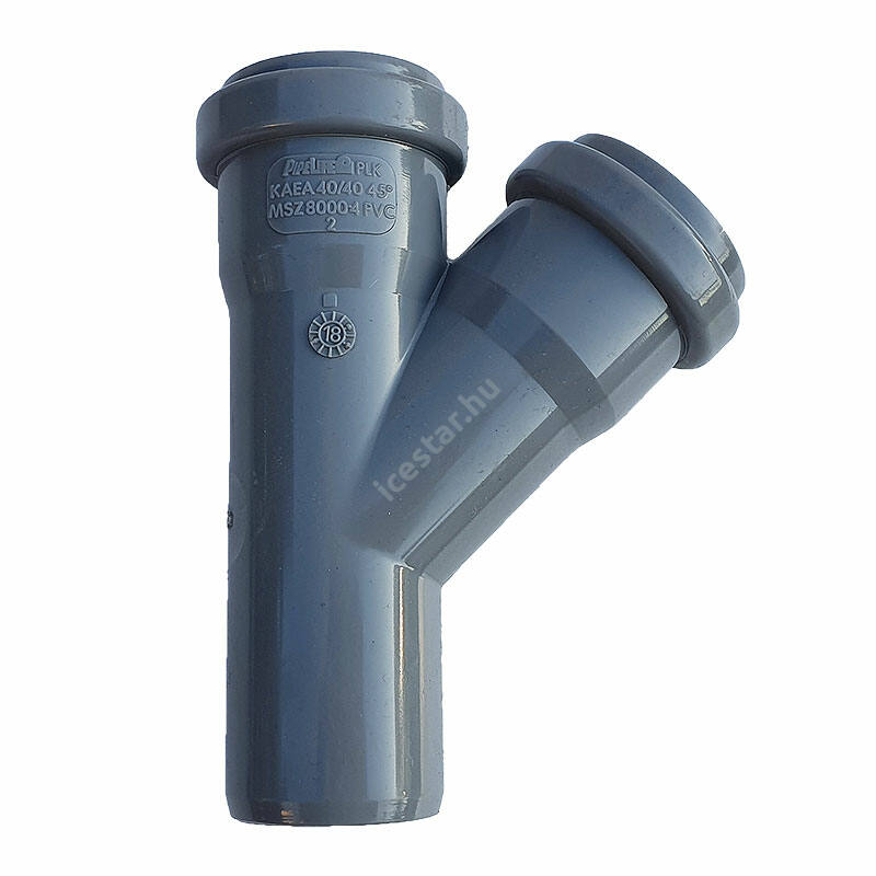 PIPELIFE PVC Tokos ágidom lefolyó csatornához (gumitömítéssel) 40x40mm / 45°