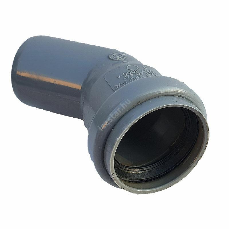 PIPELIFE PVC Tokos ívidom lefolyó csőhöz 40mm 45°1