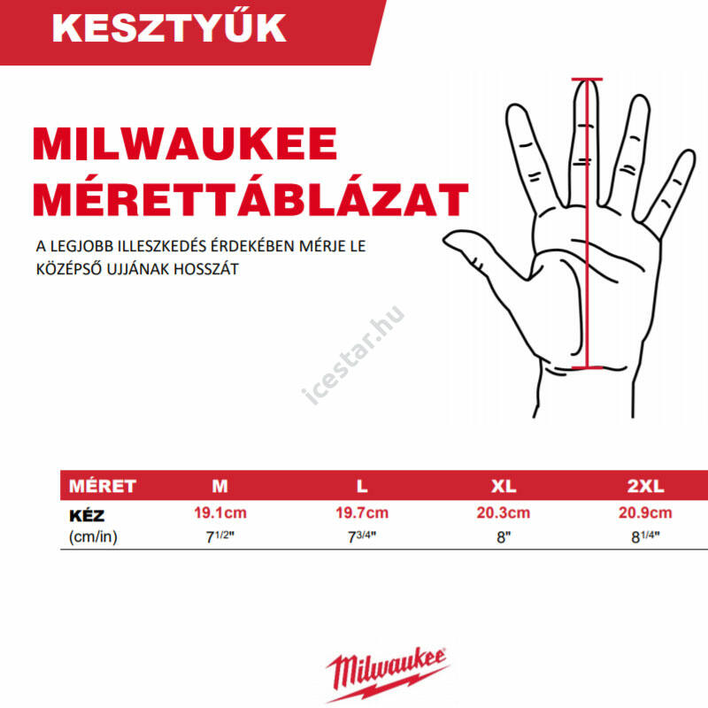 Milwaukee vágásbiztos védőkesztyű mérettáblázat