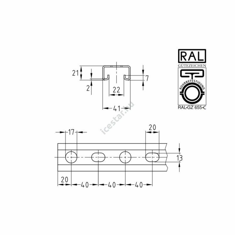 Müpro szerelősín MPR 41x21x2.0mm műszakirajz