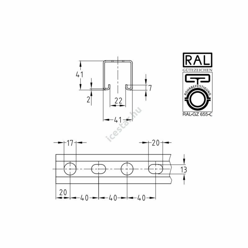 Müpro szerelősín MPR 41x41x2.0mm 2 fm/db szalaghorganyzott