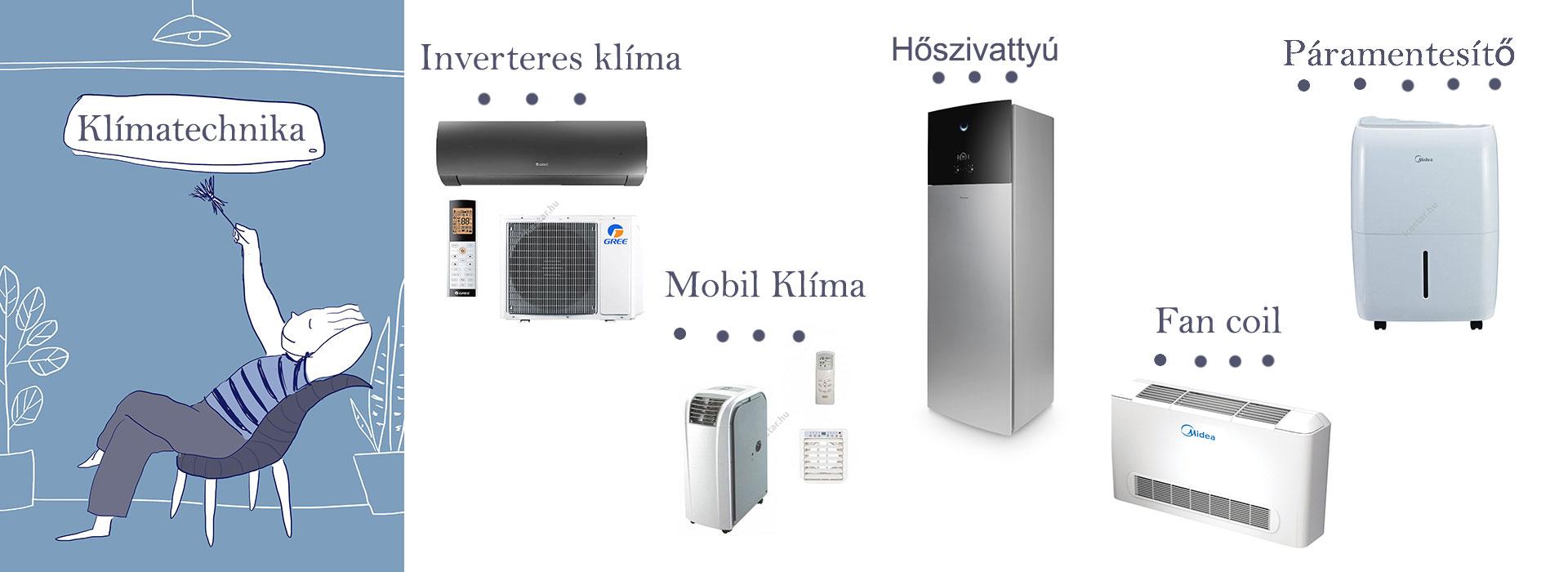 Klímatechnika-inverteres klíma, mobil klíma, hőszivattyú, páramentesítő,fan coil